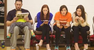 """A """"personality pic"""" of (from left) Coach Kirkby, McDonald, Runge and Curatola."""