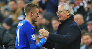 Jamie Vardy (left) and Claudio Ranieri (right) congratulate each other after drawing Manchester United 1-1 to help secure their improbable English Premier League title. Photo from www.express.uk.co