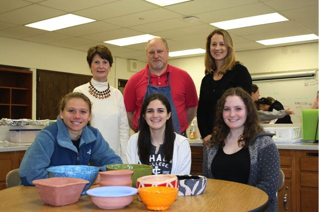 Pictured in back left to right: Mrs. White, Mr. Dinkey, and Mrs. Garretson  Pictured in front left to right: Amanda Tosi, Emma Sheinbaum, and Susan Janowsky