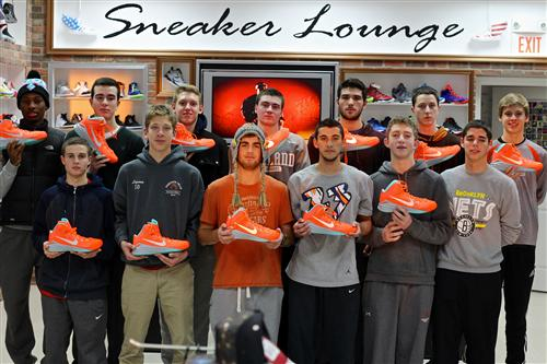 The boys' basketball team with their new team shoes