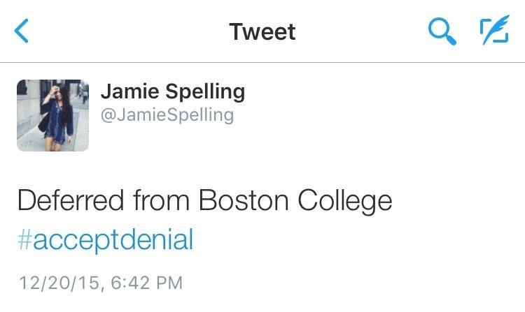 Jamie Spelling's #acceptdenial Tweet. Photo Courtesy of Jamie Spelling