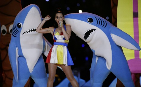 Katy Perry performs at the Super Bowl Halftime Show. Photo from Business Insider