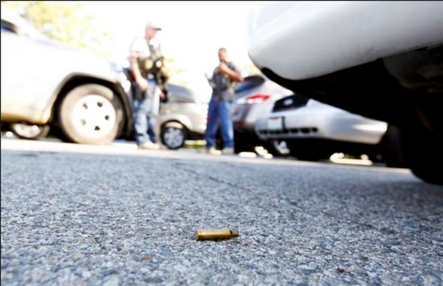 A bullet casing from the recent San Bernardino shooting.