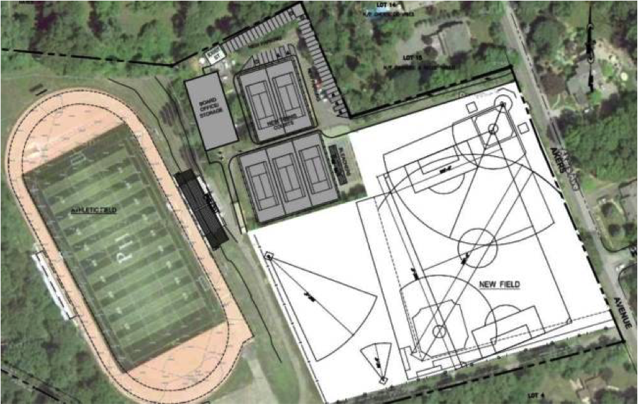 The+architect%27s+proposal+for+the+upper+campus+includes+a+softball+field+and+a+fifth+tennis+court.+Photo+courtesy+of+Pascack+Valley+Regional+High+School+District.