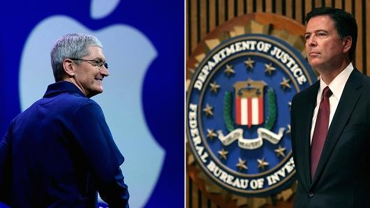 Apple CEO Tim Cook (left) and FBI Director James Comey (right). Photo courtesy of CNBC.com