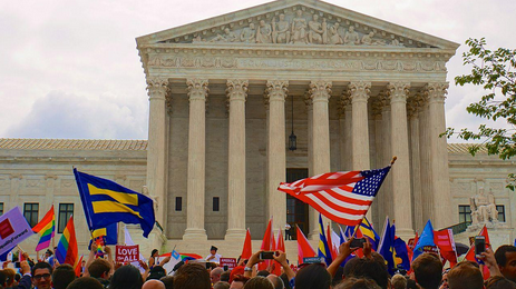Celebrations outside the supreme court after the ruling in Obergefell v. Hodges, which resulted in the national legalization of same-sex marriage.