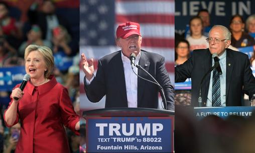 Hillary Clinton, Donald Trump, and Bernie Sanders   Photo by Kyle Hammalian