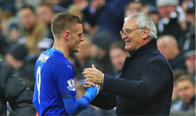 Jamie+Vardy+%28left%29+and+Claudio+Ranieri+%28right%29+congratulate+each+other+after+drawing+Manchester+United+1-1+to+help+secure+their+improbable+English+Premier+League+title.+Photo+from+www.express.uk.co+