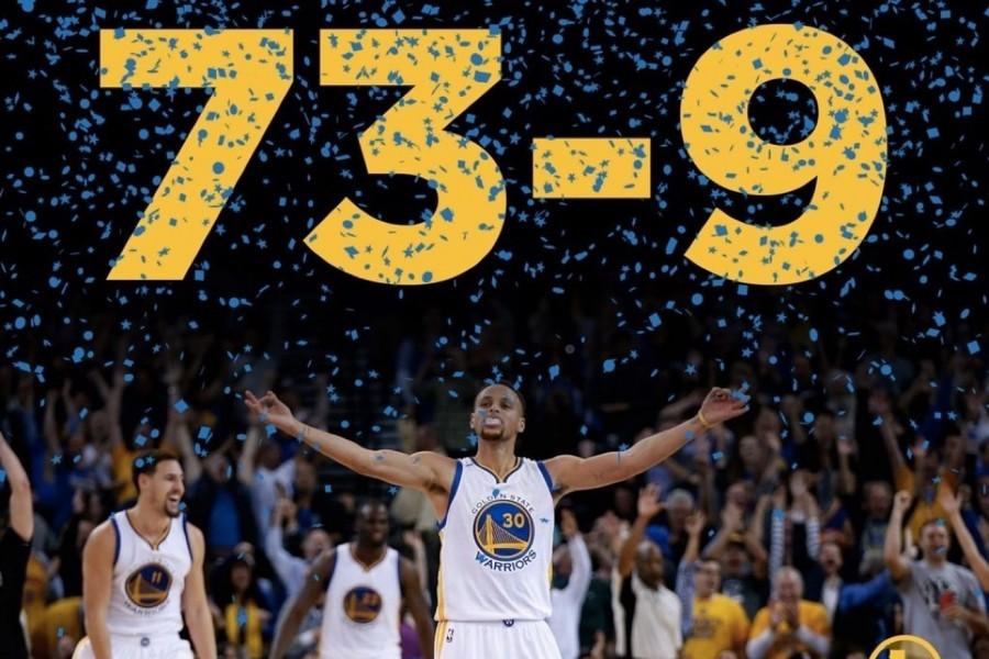 The Warriors win their 73rd game, an NBA record. Photo from goldenstateofmind.com