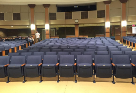The auditorium is one of the locations that students were sent to during Tuesday's drill.