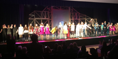 The cast and stage crew of Big Fish take a bow after their first performance. Image taken by Wikfors.
