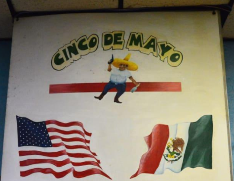 A mural displayed prominently above the grill.