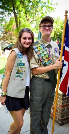 Evan and Jillian Michales pictured during a ceremony for Boy and Girl Scouts. Photo by Jillian Michales.