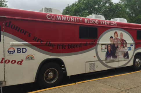 One of the blood donation trucks parked outside of the front entrance of Hills. Photo by Matthew Wikfors.