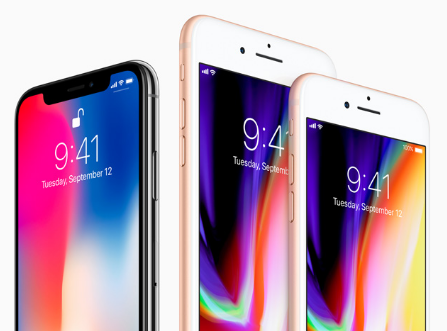 Caption: The iPhone X (on the left) and the iPhone 8 and iPhone 8 Plus (on the right). Photo by Apple.
