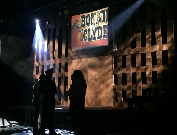 Photo by Matthew Wikfors Students preparing during rehearsal for Bonnie and Clyde.