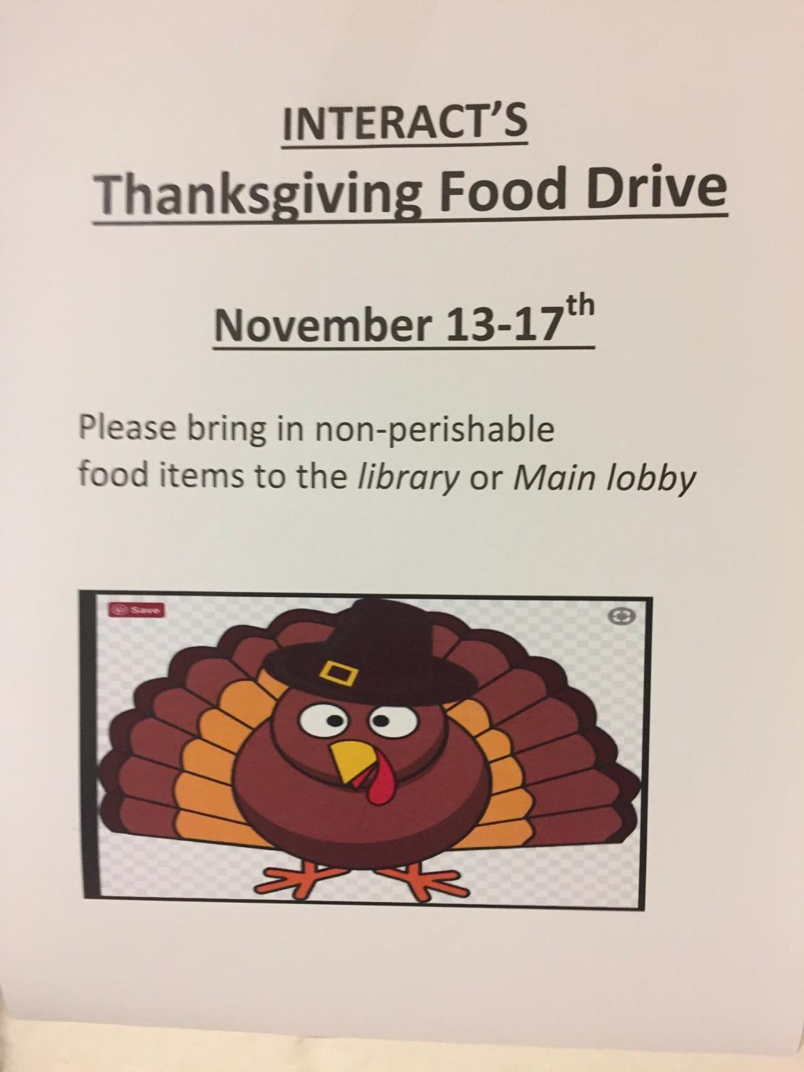 Help out the community and donate to Interact's Thanksgiving Food Drive