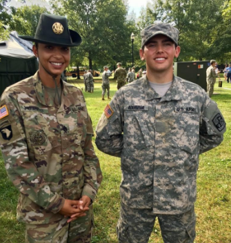 John and his drill sergeant in Fort Knox, Kentucky at the Cadet Summer Training Basic Camp. Photo by Larissa Aquaviva.