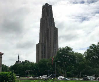 The Cathedral of Learning on a cloudy afternoon. Photo by author