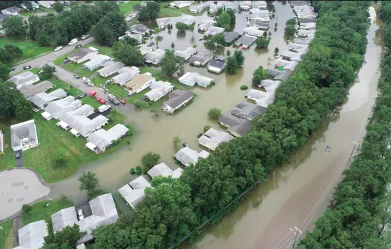 Aerial shot of the damage from the flash floods in Brick Township. Photo taken from News 12 New Jersey website