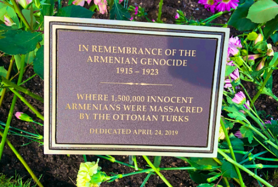 A memorial at Huff Pond in Montvale, N.J. remembering the Armenian Genocide. The plaque was installed this year at a ceremony attended by Montvale Mayor Mike Ghassali, Woodcliff Lake Mayor Carlos Rendo, and local Armenians. Photo credit: Vani Apanosian.