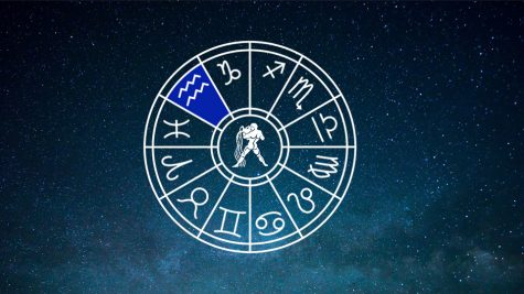 Horoscope symbols, with the the current horoscope, Aquarius, highlighted in blue. Photo courtesy of Creative Commons.