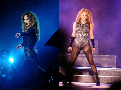 Jennifer Lopez and Shakira, both of Latin origin, performing. Photos courtesy of Wikimedia Commons.