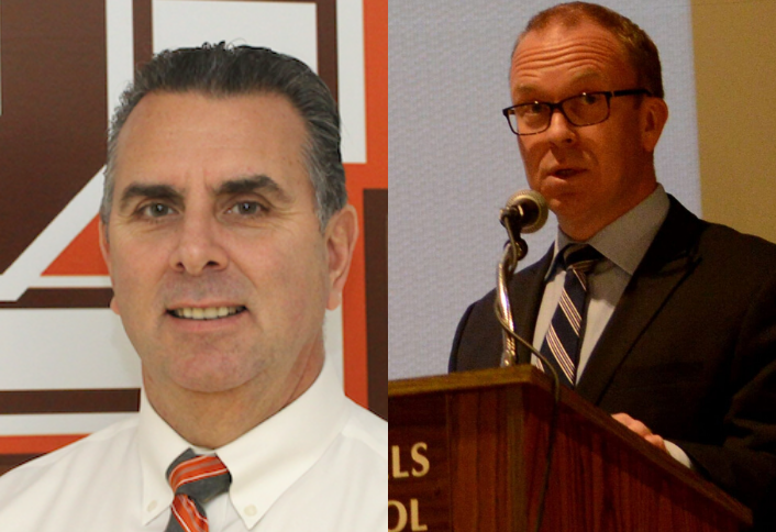 Pascack+Hills+High+School+principal+Glenn+deMarrais+pictured+left.+Superintendent+Erik+Gundersen+pictured+right.