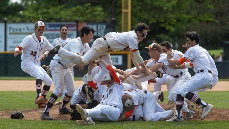 The Pascack Hills baseball team after capturing their second consecutive state championship in 2019.