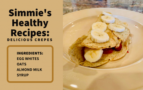 This recipe for healthy crepes tastes delicious with banana on top and fresh strawberries inside.
