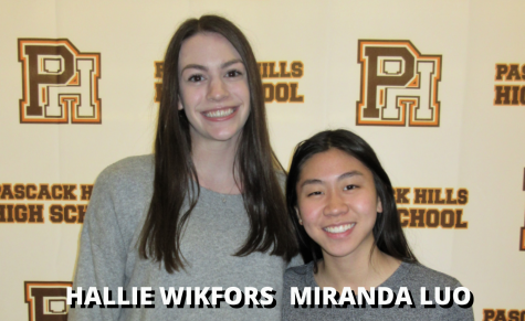 From left to right: Valedictorian Hallie Wikfors and Salutatorian Miranda Luo.