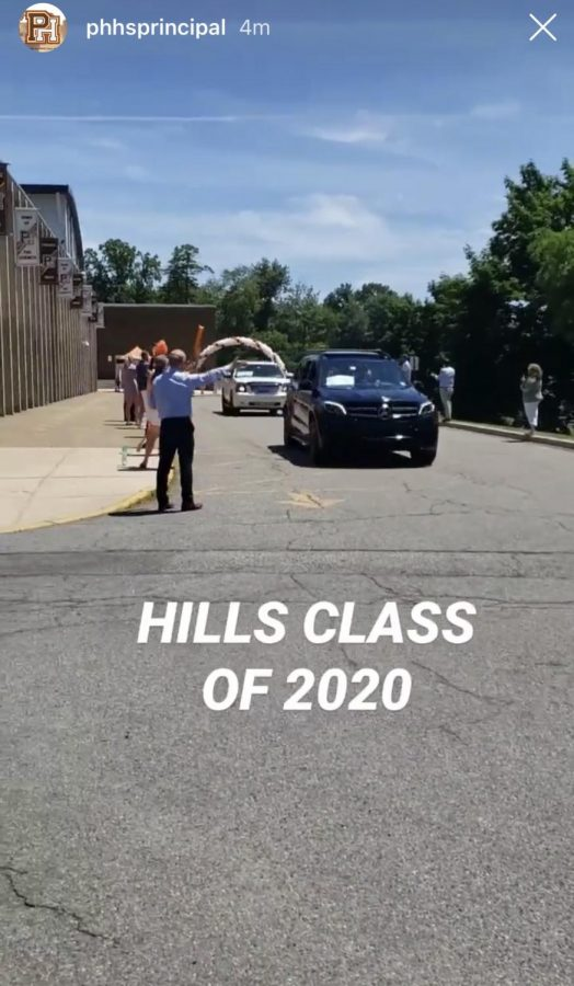 The Class of 2020 graduates participates in a drive-by parade through Montvale and Hills' campus, where faculty cheer them on.