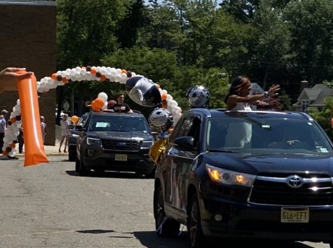 The Class of 2020 graduates participates in a drive-by parade through Montvale and Hills