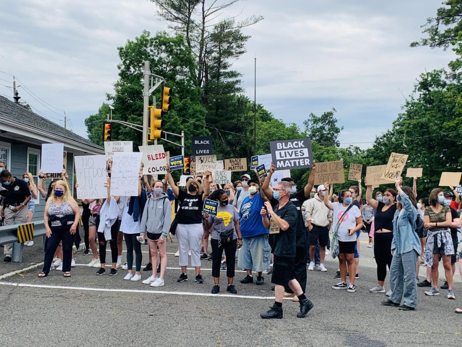 Over 200 protesters for racial equity from around the region marched from the Woodcliff Lake borough hall to the Woodcliff Lake train station.