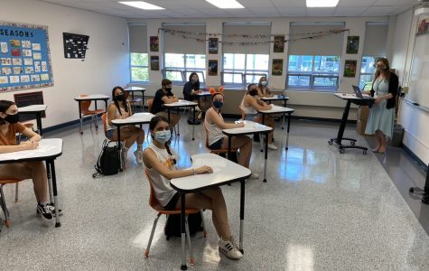 Ms. Katherine Donahue's AP English Literature and Composition class on their first day of school in-person, Sept. 4.