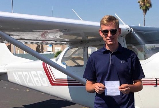 Rising senior Alex Nasano with his pilot