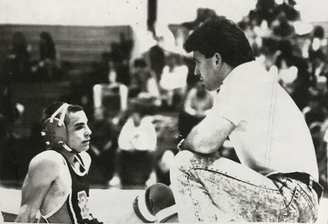 Paspalas coaching wrestling during his first year at Hills in 1989.