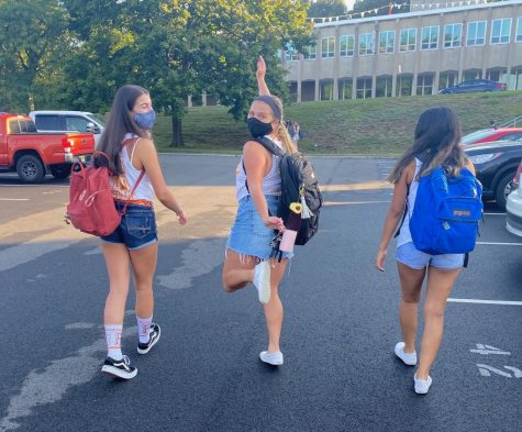 Three Hills seniors walk to school on their first in-person day of the 2020-21 school year.