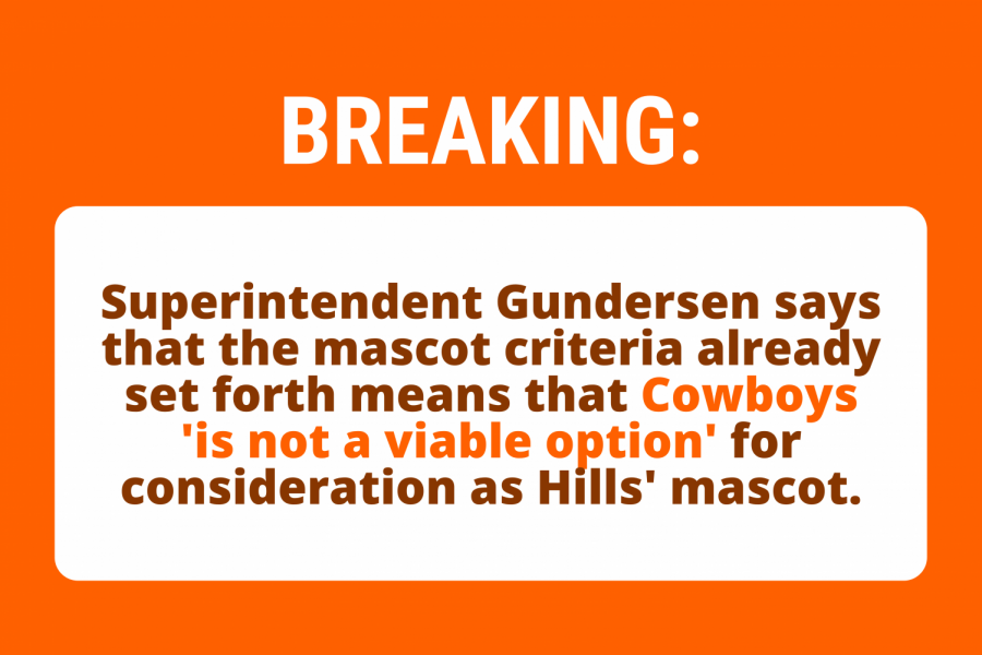 Superintendent Erik Gundersen clarified on Wednesday that Cowboys cannot be considered for Hills' mascot.