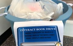 One of the drop-boxes for the book drive in the Pascack Hills lobby.