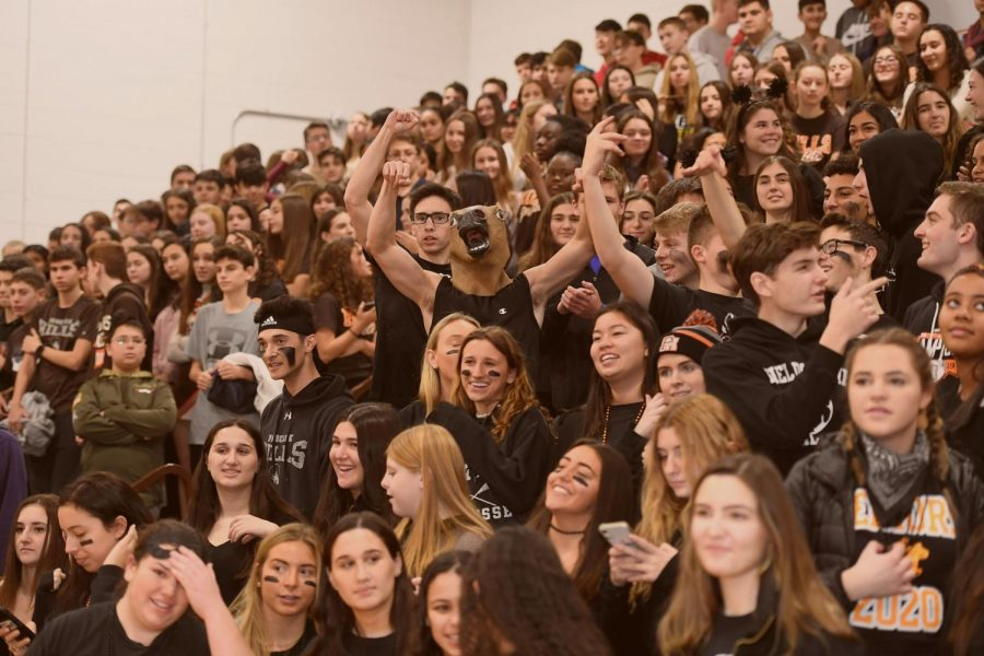 Hills students cheer for their fellow students at a pep rally during the 2019-20 school year.