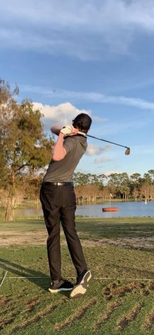 Hills junior Dylan Reissman golfing. He has traveled to Florida in order to improve his game this school year.