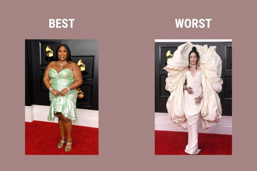 Lizzo, pictured left, wore a green, bodycon dress designed by Balmain with jewelry from Bulgari. Noah Cyrus, right, decided to wear a cream colored dress that was from Schiaparelli's Spring 2021 collection.