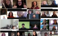 The vocal and instrumental instructors and their students conducting lessons via Google Meet.