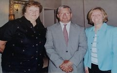 Ms. Harmon, left, after being named 2005-06 Hills Teacher of the Year. She is pictured with former Superintendent Benedict Tantillo, center, and 2005-06 Valley Teacher of the Year Karen Kosch.