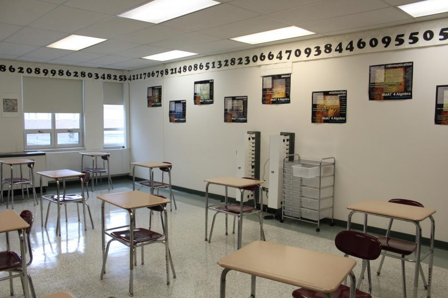 An empty classroom at Pascack Hills. The district is now able to decrease social distancing from six feet to three feet.