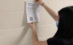 Co-President Lina Kim hanging a vaccination information poster.