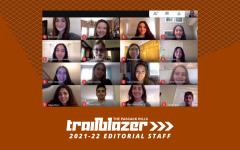 The Trailblazer's 2021-22 editorial staff along with advisor Vani Apanosian.