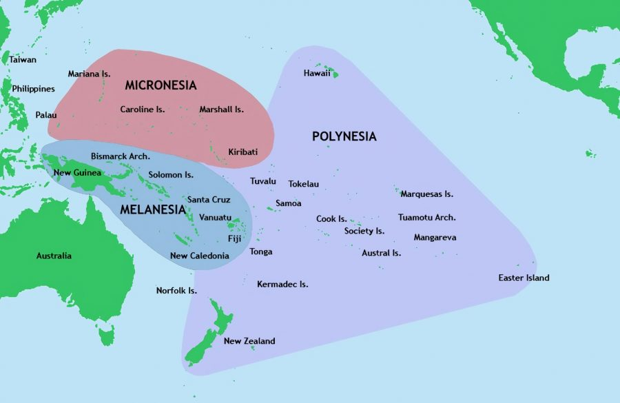 A partial map of the Pacific islands.