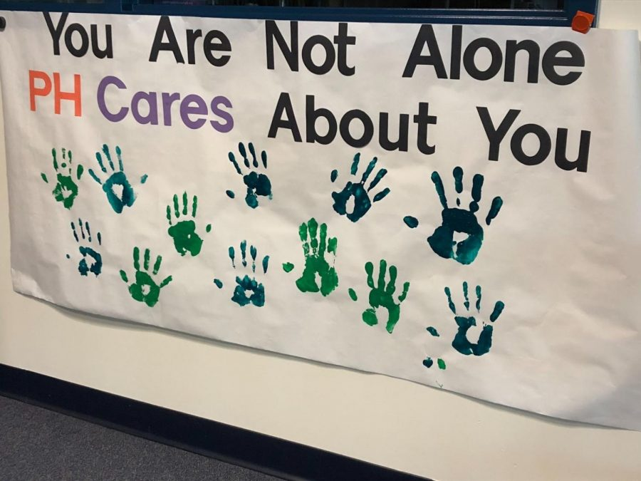 The PH Cares club recently organized a handprint activity to support people struggling with their mental health.